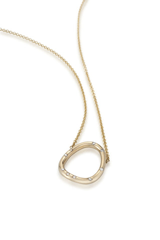 14k Gold & Diamond Organic Circle Pendant Necklace