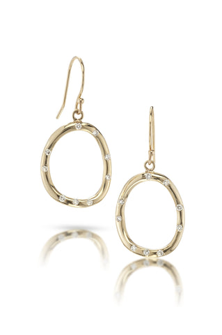 14k Gold & Diamond Organic Circle Earrings