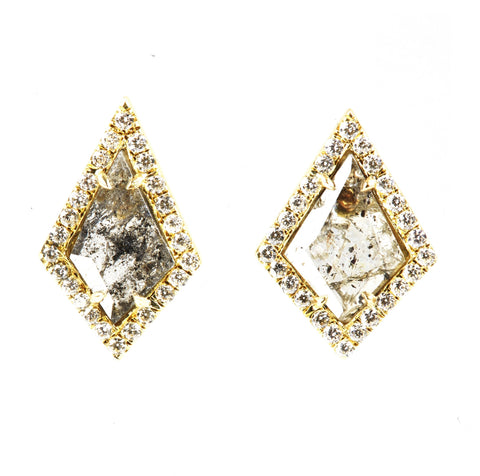 18k Gold Pavé Diamond Kite Stud Earrings