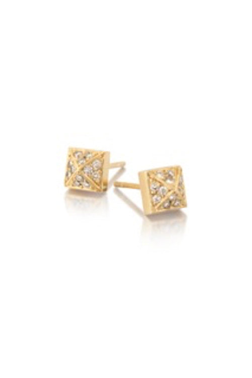 14k Gold & Diamond Pyramid Stud Earrings