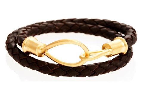 Double Wrap Black Leather Bracelet with 14k Gold Lasso Hook