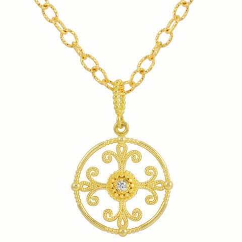 Round Diamond Filigree Pendant Necklace