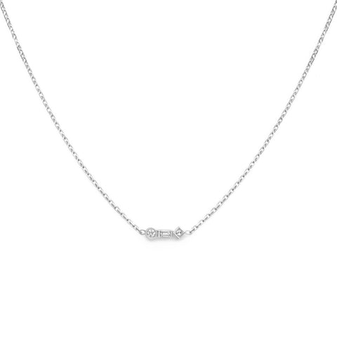 18k White Gold Diamond Hexagon Pendant Necklace