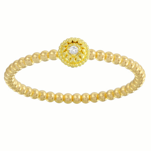 18k Gold Diamond Bead Ring