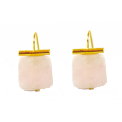 18k Gold Rose Quartz Drop Earrings