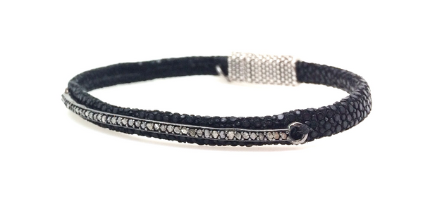 Skinny Diamond Bar Black Stingray Bracelet