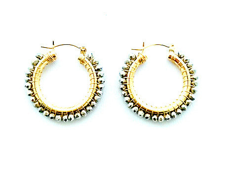 White Pyrite Hoop Earrings