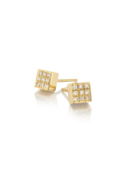 14k Gold & Diamond Square Stud Earrings