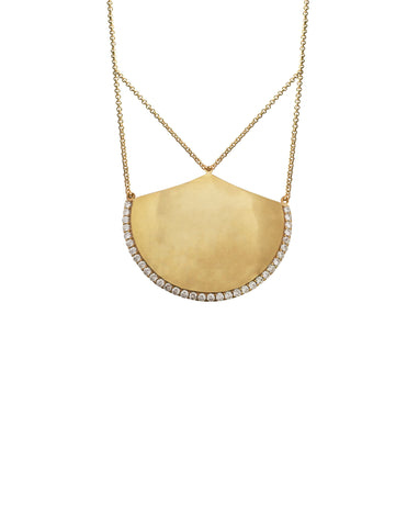 Gold Shield Pendant Necklace