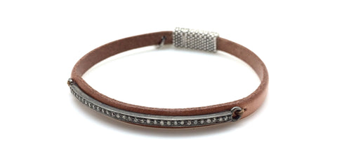 Skinny Diamond Bar Tan Leather Bracelet