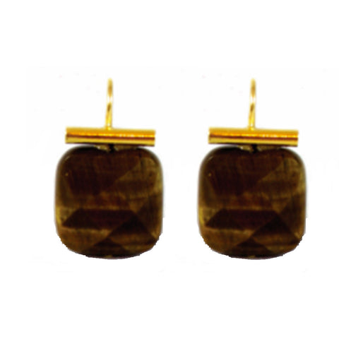 18k Gold Tiger's Eye Drop Earrings