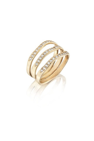14k Gold & Diamond Wavy Triple Band Ring