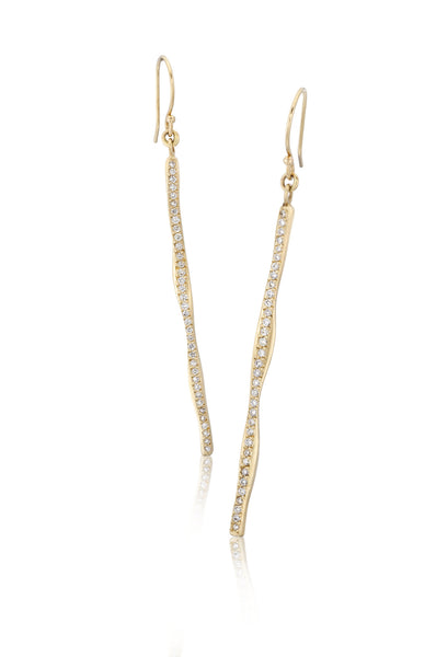 14k Gold & Diamond Wavy Stick Earrings
