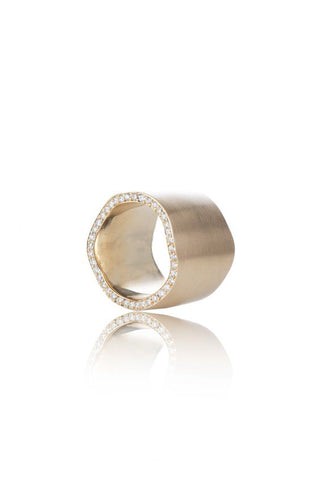 14k Gold & Diamond Wavy Cigar Band Ring