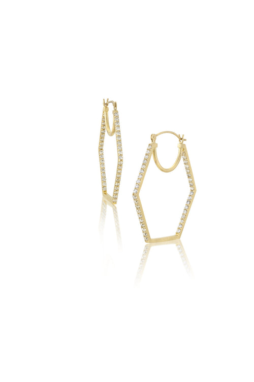 14k Gold & Diamond Hexagon Hoop Earrings