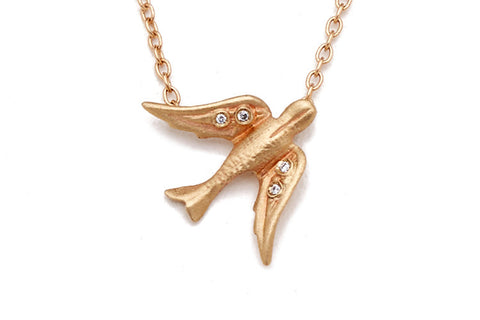14k Gold Bird Diamond Necklace