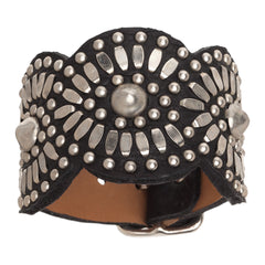 Black Tania Leather Cuff Bracelet