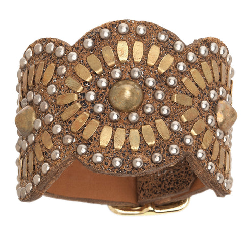 Gold Tania Leather Cuff Bracelet