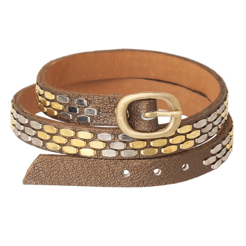 Snake Triple Wrap Leather Bracelet