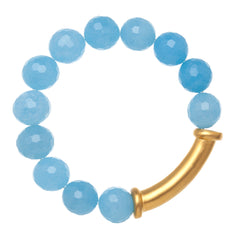 18k Gold Quartz Stretch Bracelet