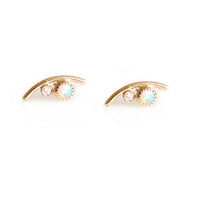 Opal & Diamond Drop Curve Stud Earrings