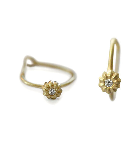 14k Gold Flower Diamond Hoop Earrings