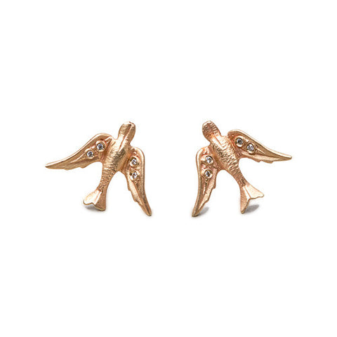14k Gold Bird Diamond Stud Earrings