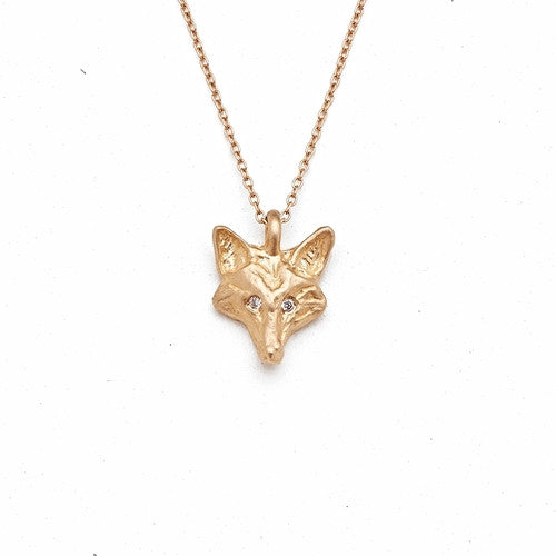 14k Gold & Diamond Fox Necklace