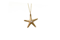 14k Gold & Diamond Starfish Necklace