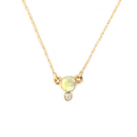14k Gold Opal & Diamond Drop Pendant Necklace