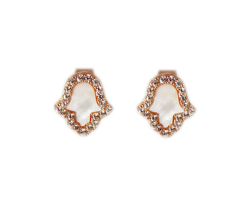 Hamsa Mother of Pearl & Crystal Stud Earrings