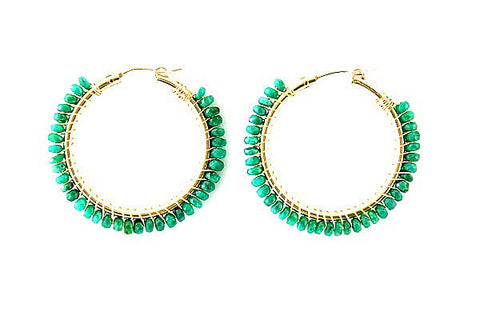 Stella Emerald Hoop Earrings
