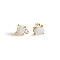 Opal & Diamond Droplet Stud Earrings