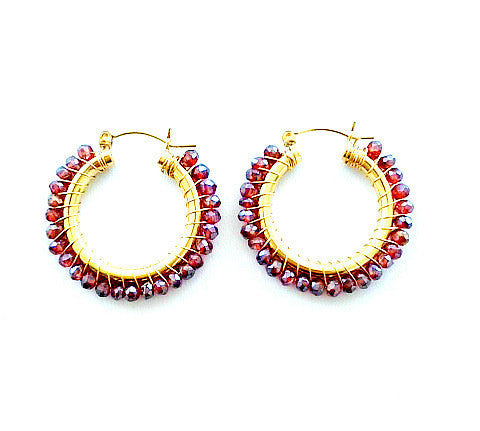 Stella Garnet Hoop Earrings