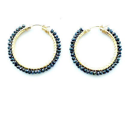 Stella Black Spinel Hoop Earrings