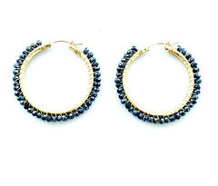 Carolina Loyola Stella Black Spinel Hoops