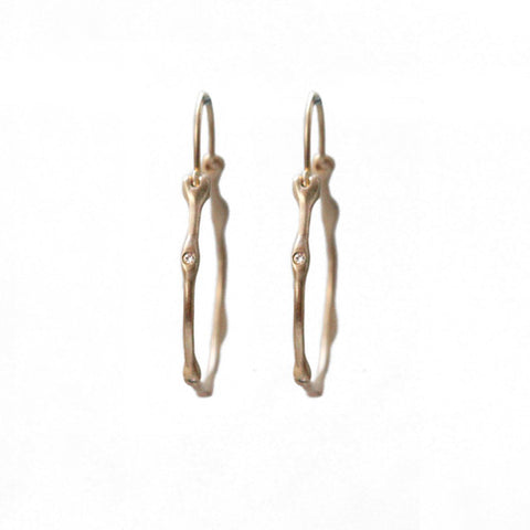 14k Gold Seaweed Diamond Hoop Earrings