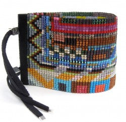 Havana Wide Beaded Cuff Bracelet