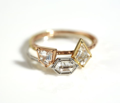 18k Gold & Geometric Diamond Stacking Ring