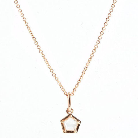 18k Gold Pentagon Diamond Pendant Necklace