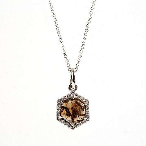 18k White Gold & Diamond Sheild Pendant Necklace