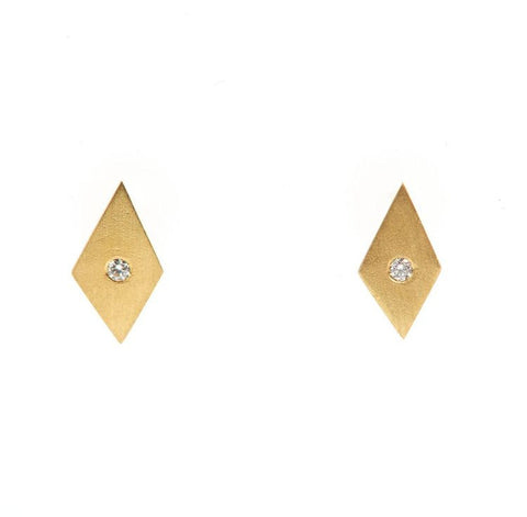 18k Gold & Diamond Mini Kite Stud Earrings