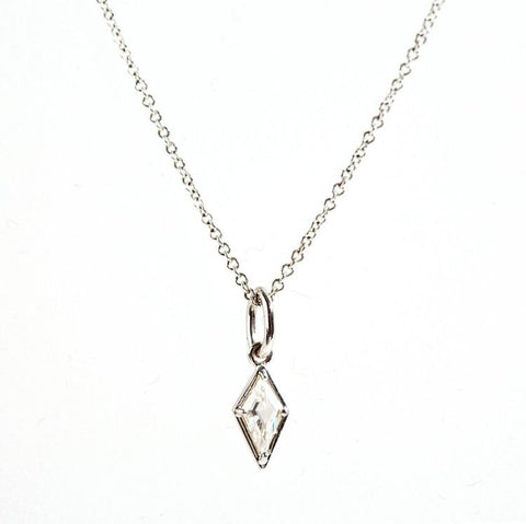 18k Gold Rhombus Diamond Pendant Necklace