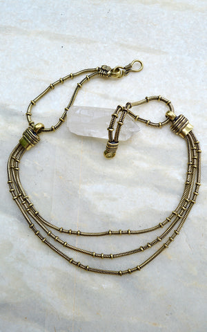 Brass Triple Chain Necklace