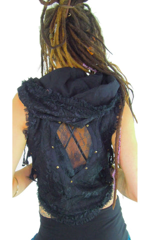 hooded bolero waistcoat with Gypsy lace