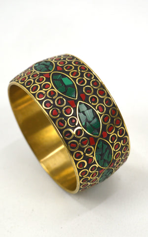 Brass inlaid stone bangles (large)