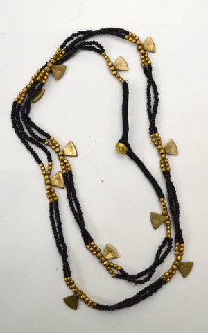 Brass and Bead Multi layer Necklace
