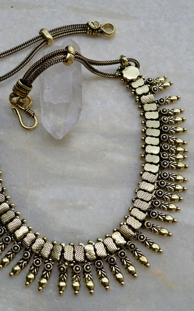Brass Tribal Leaf Choker