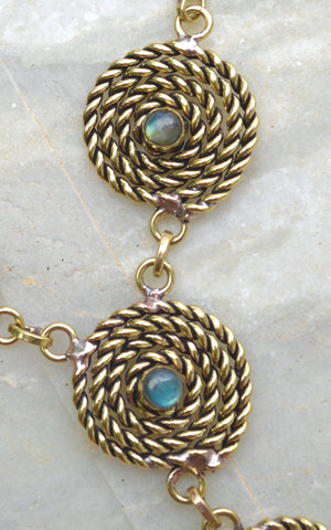 Brass Spiral Rope with Semi Precious Stone