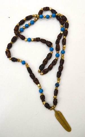 Brass Feather Mala with Stones and Beads